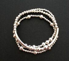 Set Of 3 Sterling Silver Bracelets. Stacking Bracelets. Silver Beaded Bracelets.