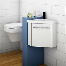 Bathroom Cloakroom Corner Vanity Unit Basin Sink Small Wall Hung Sink Cabinet