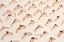 Wholesale Jewelry Lots 10pcs CZ Rhinestone Gold Plated Rings New Free