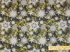 Crystal Palace Snowflake Black & Gold Christmas Fabric by the 1/2 Yard  #2210M