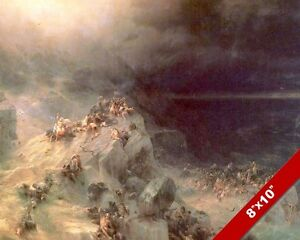 WICKED PERISH IN THE GREAT FLOOD PAINTING BIBLE NOAH'S ARK ART REAL CANVAS PRINT