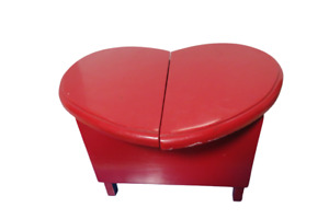 """Hand Made Red Heart Shaped Wooden Storage Stool 11""""Tall 16""""L 6"""" Deep Valentine"""