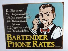 Bartender Rates Sign Bar Funny Rustic Vintage Metal Tin Advertising USA