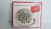 """Lenox 6.75"""" Cheese Plate w/ Spreader HOLLY & BERRIES  Christmas NEW in Box KK"""