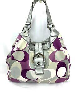 COACH Purple Gray White Scarf Print Op Art Sateen Hobo Shoulder Bag Purse F17135