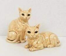 "Vtg Abyssinian Ceramic Cat Figurines Pair Made in Japan by Vv 4"" Euc w/ Tags"