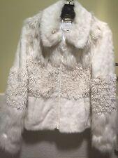 Laundry by Shelli Segal Faux Fur Cream Jacket Coat Sz S NWOT
