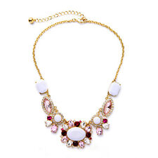 Pink White Gemmed Gold Necklace New Signature Anthropologie Shani Red