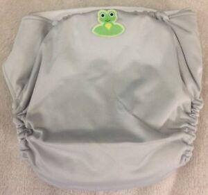 Coqui Baby HERO Boys Gray Reusable Cloth Diaper Cover Green Frog 7-40 Pounds