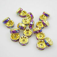 Charm NEW for DIY jewelry 20pcs 8MM Plated silver crystal spacer beads NOV48