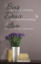 DANCE SING LOVE Big Lettering Wall Stickers Black & Silver Quote Vinyl Decals
