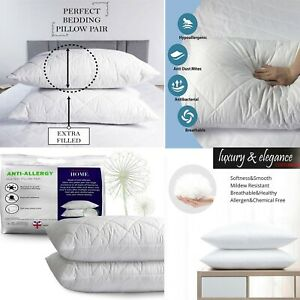 Quilted Hollowfibre Pillows Hotel Quality Bounce Back Super Firm Extra Filled
