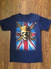 Disney Pirates of the Caribbean TShirt Sz Small Skull Swords UK Flag Black Pearl