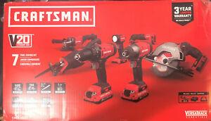 CRAFTSMAN CMCK700D2  20V Cordless Drill, Grinder, Impact, Saws, Multi Tool Kit