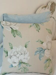Laura Ashley Fabric Cushion Cover  Wisley Natural Floral Cotton 16""