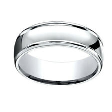 14k Solid White Gold 7mm Comfort Fit High Polish Round Edge Band Ring Sz 7