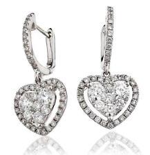 Diamond Heart Halo Drop Earrings 1.40ct F VS in 18ct White Gold