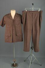 Men's 1970s Brown Leisure Set Shirt Large Pants 37x28 70s Vtg Suit