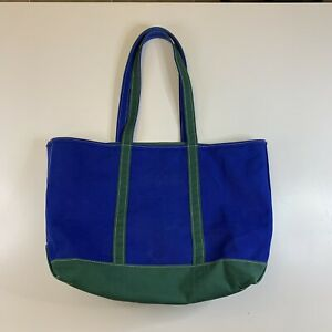 Vintage RARE Color LL Bean Blue And Green Boat And Tote Large Long Strap Zip Top