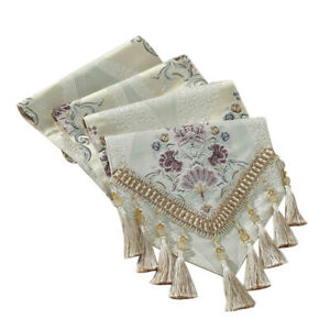 Luxury Table Runner Jacquard Tassel Lace Furniture Table Cloth Cover Home Decor