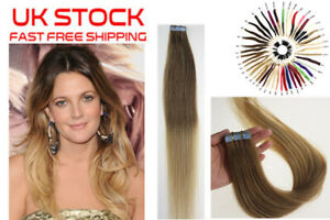 """18"""" CLEARANCE Tape in Russian Remy Human Hair Extensions Skin Weft Blonde T6/20"""