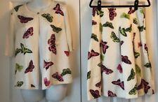 Talbots Two-Piece Silk Set in Butterfly Pattern: Sweater Size M, Skirt Size 6