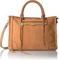 New Rebecca Minkoff Regan Large Leather Satchel Shoulder Bag Almond Brown 100%