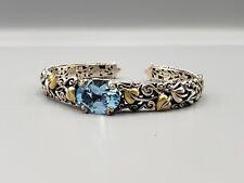 Barbara Bixby 925 Silver & 18k leaf Accent Oval Blue Topaz Hinged Cuff Bracelet