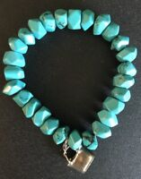 COLDWATER CREEK Turquoise Stretch Bracelet Sterling Silver 925 Purse Charm