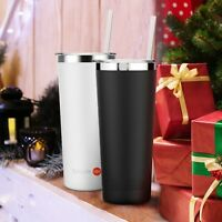 2 SET 22oz Double Wall Tumbler Vacuum Insulated Stainless Steel Coffee Cup Straw
