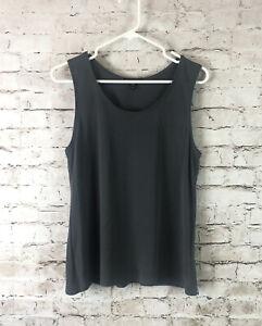 Eileen Fisher Women's Medium Charcoal Grey 100% Silk Tank Top Cami Flowy Basic M