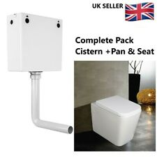 Square Complete Back To Wall Pan Toilet WC Modern Soft Closing Concealed Cistern