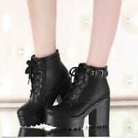 Women's Block Heels Buckle Platform Shoes Lace-Up Punk Goth Creeper Ankle Boots