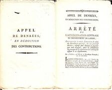 C1 REVOLUTION ADMINISTRATION CENTRALE ISERE 1799 Denrees Subsistance Troupes