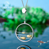 Unique Solid 925 Sterling Silver 18K Gold Happy Fish Round Pendant for Women