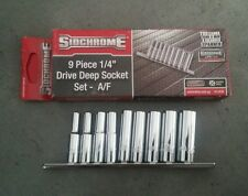 "SIDCHROME SCMT12430 9PC 1/4"" DR AF DEEP SOCKET SET 3/16""-1/2"" L/TIME WARRANTY"