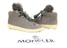 MONCLER NWOB Lucie High Top Suede Sneakers Gray Shimmer Fur Tongue Sz 39 / 9US