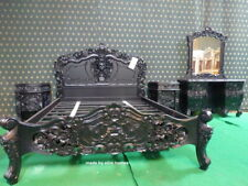King size 5'  Gothic Black oriental French style Rococo bed mahogany wood