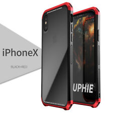 LUPHIE PC & Metal Bumper + Gorilla Glass Clear Cover Case for iPhone X XR XS Max
