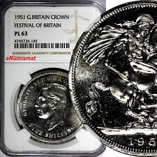 GREAT BRITAIN George VI 1951 Crown Festival of Britain NGC PL63 PROOF LIKE KM880