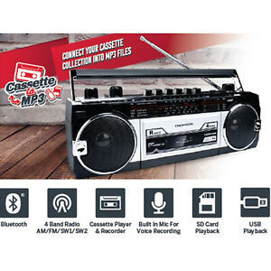THOMSON Bluetooth Radio Cassette Player Tape to MP3 Converter USB Portable NEW
