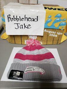 NWT NFL SEATTLE SEAHAWKS NEW ERA CAP KNIT CUFFED POM BEANIE WOMENS PINK CANCER