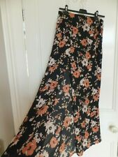 FOREVER 21 BLACK ORANGE YELLOW FLORAL LONG TALL MAXI SKIRT S ( 6/8 UK) BNWT