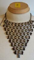 "RARE 16""CHUNKY STATEMENT BALL AND CHAIN METAL BIB NECKLACE,UNIQUE,ARTSY,2TONE,"