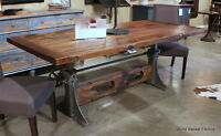 95 Quot L Dining Crank Table Desk Solid Old Iron Industrial