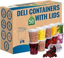 50 Pack 32 oz Durable Deli Food/Soup Plastic Containers w/ Lids and Airtight