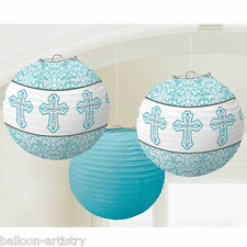 3 Elegant Blue Boy's 1st Holy Communion Party Paper Ball Lantern Decorations