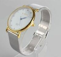 Reloj de pulsera para Mujer moda acero inoxidable analógico Regalo de lujo plata