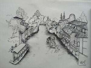 Original art work drawing art pen sketch A4 size Chinese water town view