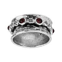 Silpada 'New Flower Child' Natural Garnet Floral Spinner Ring in Sterling Silver